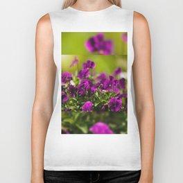 Purple pansies flowering bunch Biker Tank