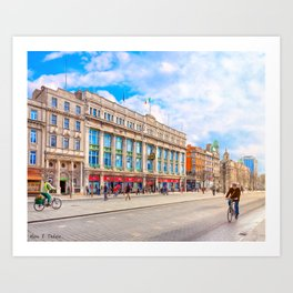 Brilliant Morning Sun On O'Connell Street In Dublin Ireland Art Print