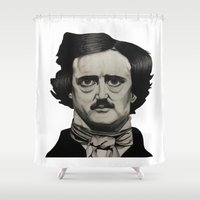 edgar allan poe Shower Curtains featuring Edgar Allan Poe by Sierra Christy Art