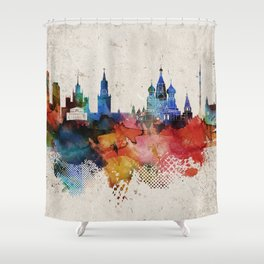 Moscow Abstract Skyline Shower Curtain
