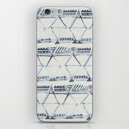 Simply Tribal Shibori in Indigo Blue on Lunar Gray iPhone Skin