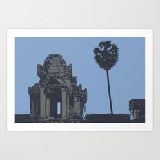 Crypt at Angkor Wat with Palm Tree Art Print