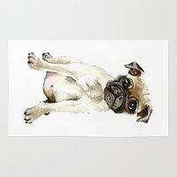 dorothy Area & Throw Rugs featuring Dorothy the Pug  by Bridget Davidson