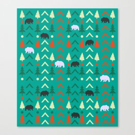 Winter bear pattern in green Canvas Print