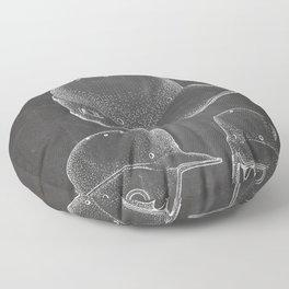 Baseball Helmet Patent - Baseball Player Art - Black Chalkboard Floor Pillow