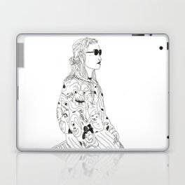 girl with record plastic bag Laptop & iPad Skin