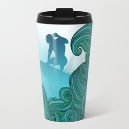 Surfer wave art Surfer dude hangin ten with stylized waves Travel Mug