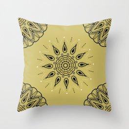 Central Mandala Dijon Throw Pillow