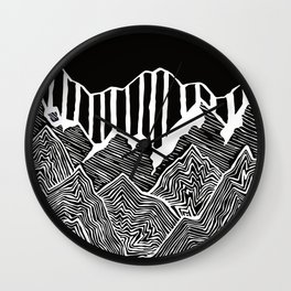 Geode Mountains Black and White Wall Clock