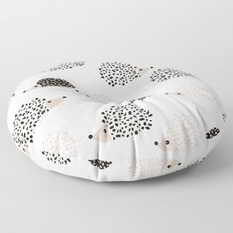 Hedgehog friends black and white spots Floor Pillow