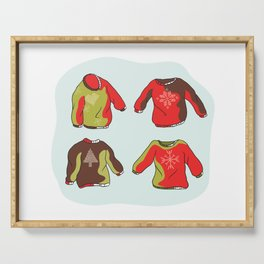 Nordic Christmas Jumper Clipart Set. Hand Drawn Embroidered Ugly Sweater Serving Tray