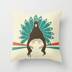The princess and the peacock Throw Pillow