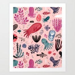 Cephalopod Swim Art Print