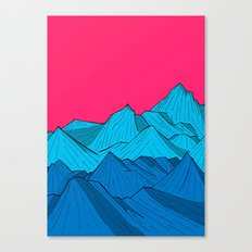 Mountains under the pink sky Canvas Print
