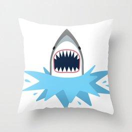 Cartoon Shark Splash Throw Pillow