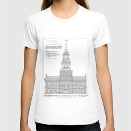 Independence Hall Blueprint Schematics T-shirt