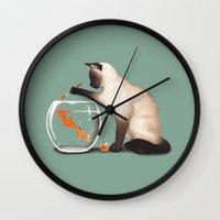 ashton irwin Wall Clocks featuring Goldfish need friend by Tummeow