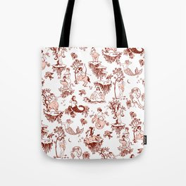 Classic Ruby Pink Zodiac-Inspired Toile Pattern Tote Bag