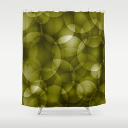 Dark intersecting translucent olive circles in bright colors with an oily glow. Shower Curtain