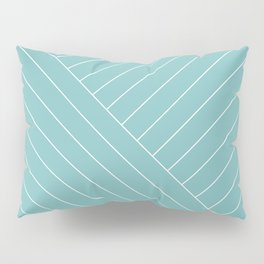 Abstract geometric lines soft turquoise Pillow Sham