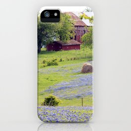 Old Red Barn and Rolling Bluebonnet Hills iPhone Case