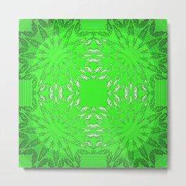 Green Color Burst Floral Metal Print