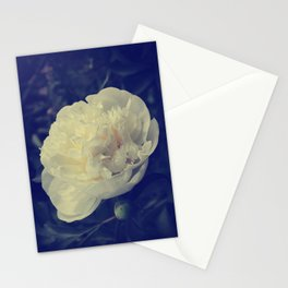 Classic White Peony Vintage toned Stationery Cards