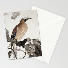 Ohara Koson, Jay Sitting On Oak Tree - Vintage Japanese Woodblock Print Stationery Cards