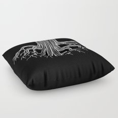 Tree Root Drawing (white on black) Floor Pillow