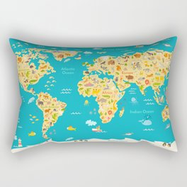 Animal map for kid. World vector poster for children, cute illustrated Rectangular Pillow