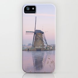 Pastel sunrise over windmills in winter in the Netherlands iPhone Case