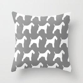 White Wire Fox Terrier Silhouette(s) Throw Pillow