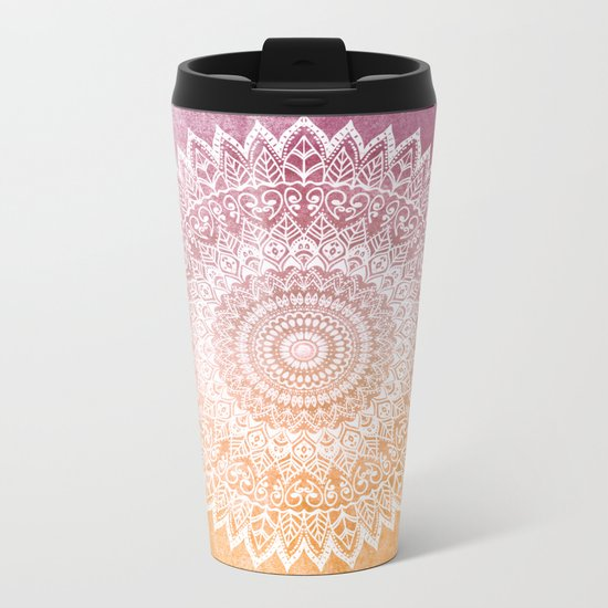 SUMMER LEAVES MANDALA Metal Travel Mug