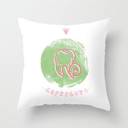 Capricorn - Teeth Zodiac Throw Pillow