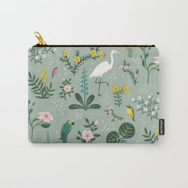 """""""Tropical Birds and Flowers"""" on Sage Green by Bex Morley Carry-All Pouch"""