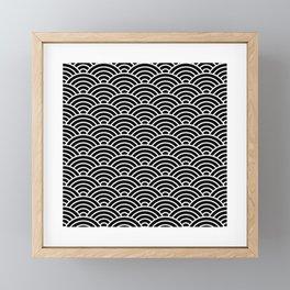 Japanese fan pattern in black Framed Mini Art Print
