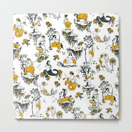 Zodiac Toile Pattern Metal Print