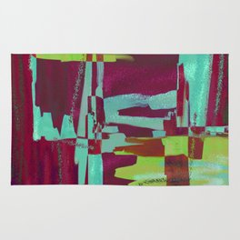 Raspberry Jam - Textured, abstract, raspberry, cyan and green painting Rug