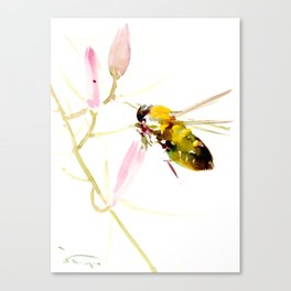 Bee and Pink Flowers Canvas Print