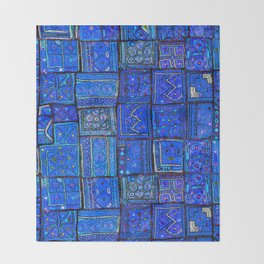 V2 Calm Blue Traditional Moroccan Cloth Texture. Throw Blanket