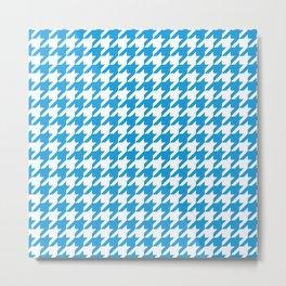 Houndstooth Checkered Deep Sky Blue & White Design Metal Print