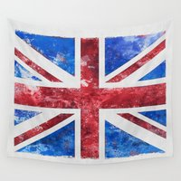 union jack Wall Tapestries featuring Union Jack by LebensART