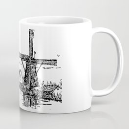Dutch scene with windmill and house near a canal and freight boat Coffee Mug
