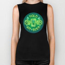 Hold My Beer Neon Sign Green Biker Tank