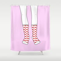socks Shower Curtains featuring Sweetheart Socks by Ninotchka Beavers