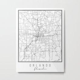 Orlando Florida Street Map Metal Print