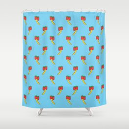 Provocative Produce: Strawberries and Bananas Shower Curtain