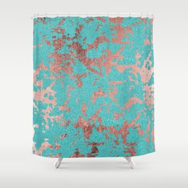 Modern turquoise glitter faux rose gold marble Shower Curtain