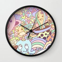 Kawaii panda pastel cute doodle Wall Clock