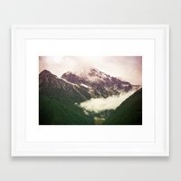 the mountains are calling Framed Art Prints featuring The Mountains Are Calling by Noonday Design